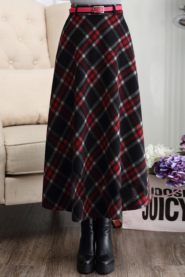[해외]2016 겨울 우크라이나 격자 무늬 모직 스커트 여성 두꺼운 따뜻한 긴 치마 높은 허리  맥시 SkirtSashes 사이즈 XXL XXXL/2016 Winter Ukraine Plaid Woolen Skirt Women Thick Warm Long Skirts