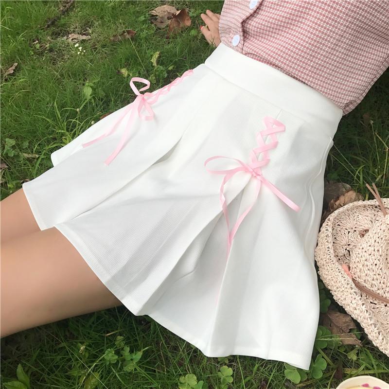 [해외]여성 하라주쿠 스커트 카와이 프레피 스타일 A 라인 귀여운 스위트 미니 스커트 로리타 사이 아 교복 Faldas Ladies Jupe 2SK6.5/Women Harajuku Skirt Kawaii Preppy Style A-line Cute Sweet Mini