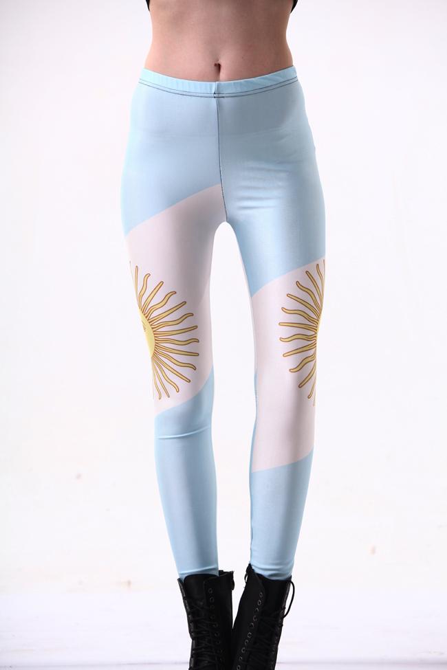 [해외]패션 여성 레깅스 갤럭시 아르헨티나 국기 레깅스 높은 탄성 여자 월드컵 바지를 그린/Fashion Women Leggings Galaxy Painted Argentina Flag Leggings High Elastic Women World Cup Pants