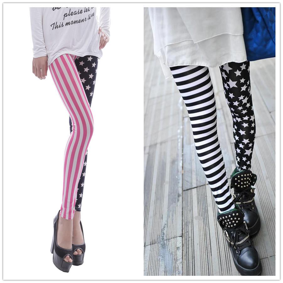 [해외]2016 패션 여성 여름 미국 국기 인쇄 비대칭 캐주얼 레깅스 피트 니스 legging 춤 바지 저렴한 의류 /2016 fashion women summer American Flag printing Asymmetric casual leggings fitness