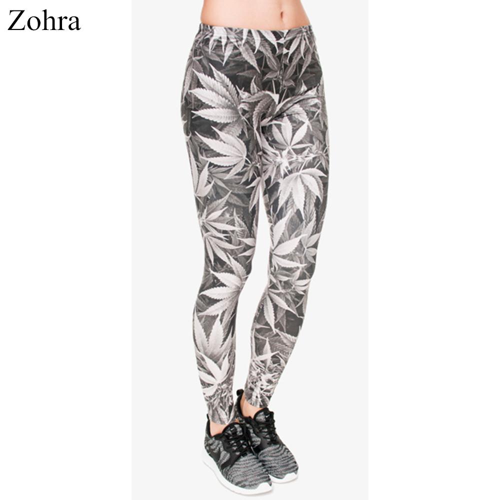 [해외]Zohra 가을 겨울 레깅스 여성 회색 인쇄 인쇄 피트 니스 legging 섹시 silm 맞는 legins 높은 허리 바지 여성 바지/Zohra Autumn Winter Leggings Women Gray leaves Printing Fitness legging