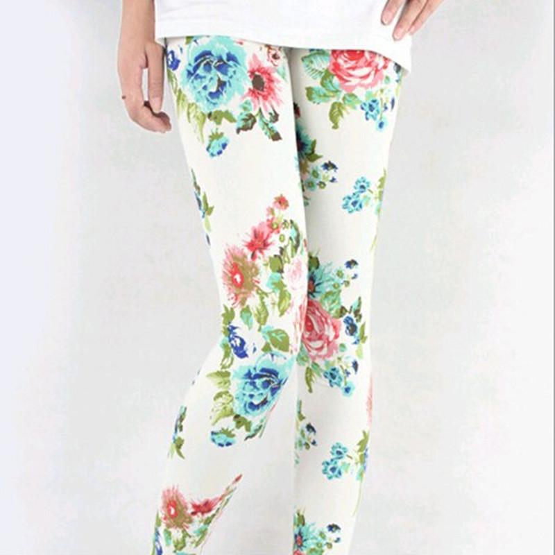 [해외]?인쇄 꽃 다리 채 신축성 Gimnasio 캐주얼 레깅스 신축성 소재 여성 바지 계속 이음새가없는 레깅스 2016/ Print Flower Legging Elasticity Gimnasio Casual Leggins Mid Elasticity Material W