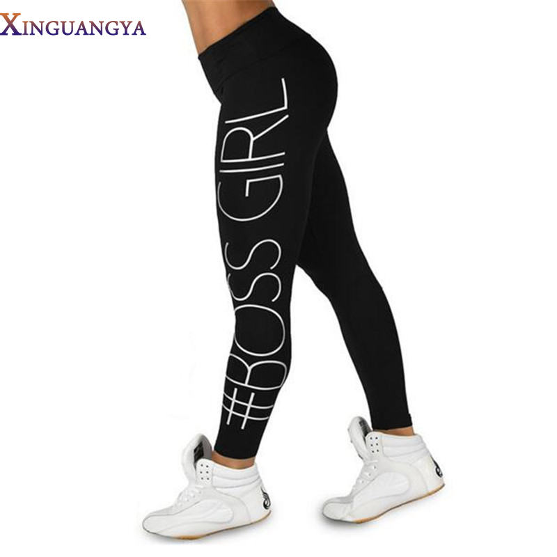 [해외]XINGUANGYA Women & S Pants 2017 패션 인쇄 보스 소녀 인쇄 높은 허리 연필 바지 여성을피트 니스 레깅스 캐주얼 바지/XINGUANGYA Women&S Pants 2017 Fashion Print Boss Girl Printed H