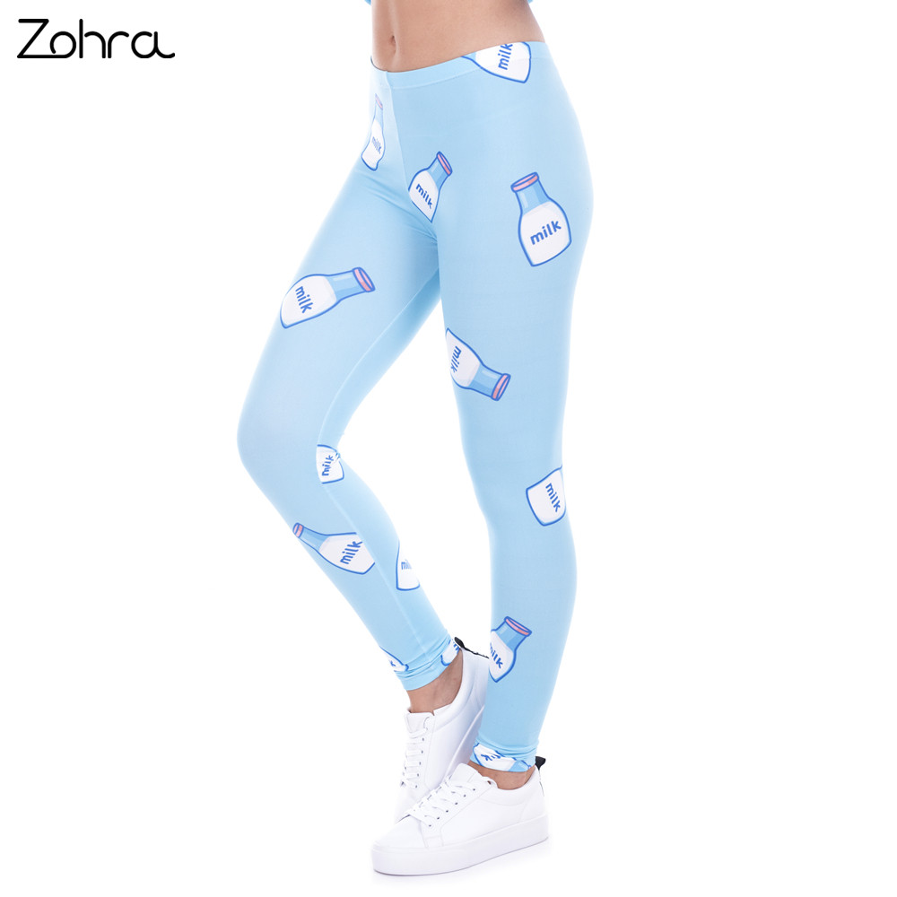 [해외]Zohra Women Legging Milk 프린트 레깅스 여성용 바지 하이 허스트 블루 레진 여성용 바지 스트레치 레깅스/Zohra  Women Legging Milk Printed Leggins for Women Trousers High Waist Blue