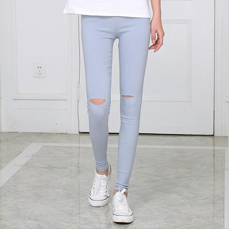 [해외]그레이 여성 청바지 레깅스 캐쥬얼 패션 스키니 슬림 씻어 Jeggings 얇은 신축성있는 구멍 여성용 레깅스 펜슬 바지/Gray Women Jeans Leggings Casual Fashion Skinny Slim Washed Jeggings Thin Elast