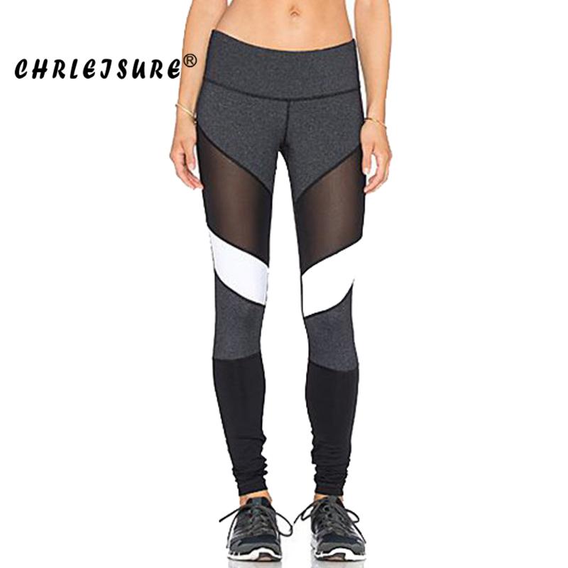 [해외]CHRLEISURE S-XL 블랙 화이트 컬러 패치 워크 레깅스 피트니스 바지 바지 Legins 빅 사이즈 신축성 여성 메쉬 레깅스/CHRLEISURE S-XL Black White Color Patchwork Leggings  Fitness Pants Trou
