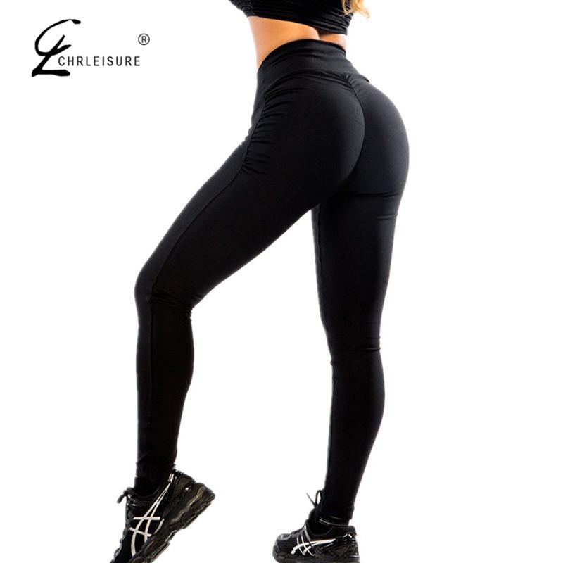 [해외]CHRLEISURE 섹시한 푸시 업 블랙 레깅스 여성 패션 하이 웨이스트 운동 폴리 에스테 레깅스 Jeggings Activewear 슬림 한 레깅스/CHRLEISURE Sexy Push Up Black Leggings Women Fashion High Wais