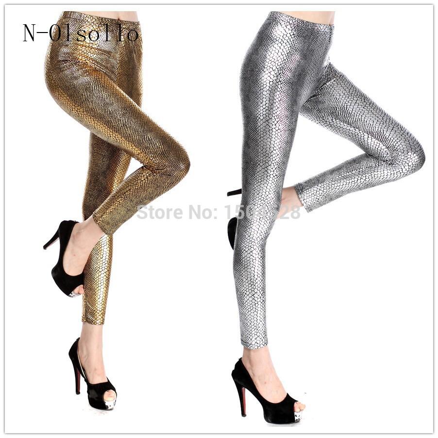 [해외]2017 새로운 패션 가짜 가죽 바지 금속 질감 라이트 스네이크 골드 / 실버 / 로즈 / 그린 / 블루 / 블랙 / 레드 섹시한 슬림 레깅스/2017 New Fashion Wholesale Faux Leather Pants Metal Texture Light