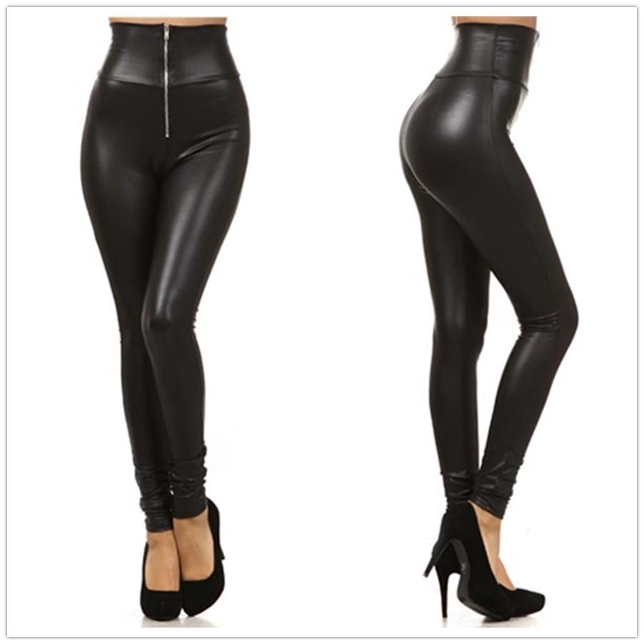 [해외]새로운 가짜 가죽 레깅스 섹시한 패션 높은 허리 스트레치 소재 여성 레깅스 여성 스키니 팬츠 지퍼 Jeggings LG001/New Faux Leather Leggings Sexy Fashion High-waist Stretch Material  Women Le