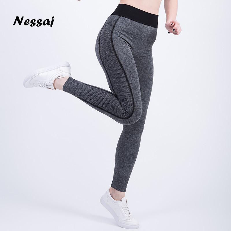 [해외]Nessaj Women 섹시한 잘린 레깅스 하이 웨스트 탄성 위크 운동 여성 탄성 스트레칭 레깅스 슬림 팬츠 34 C/Nessaj Women Sexy Cropped Leggings High Waist Elastic Wicking Force Exercise Fem