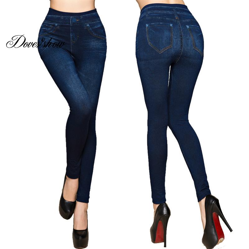 [해외]패션 슬림 여성 레깅스 가짜 데님 청바지 레깅스 섹시한 롱 포켓 프린트 여름 레깅스 캐주얼 펜슬 바지 플러스 사이즈/Fashion Slim Women Leggings Faux Denim Jeans Leggings Sexy Long Pocket Printing S