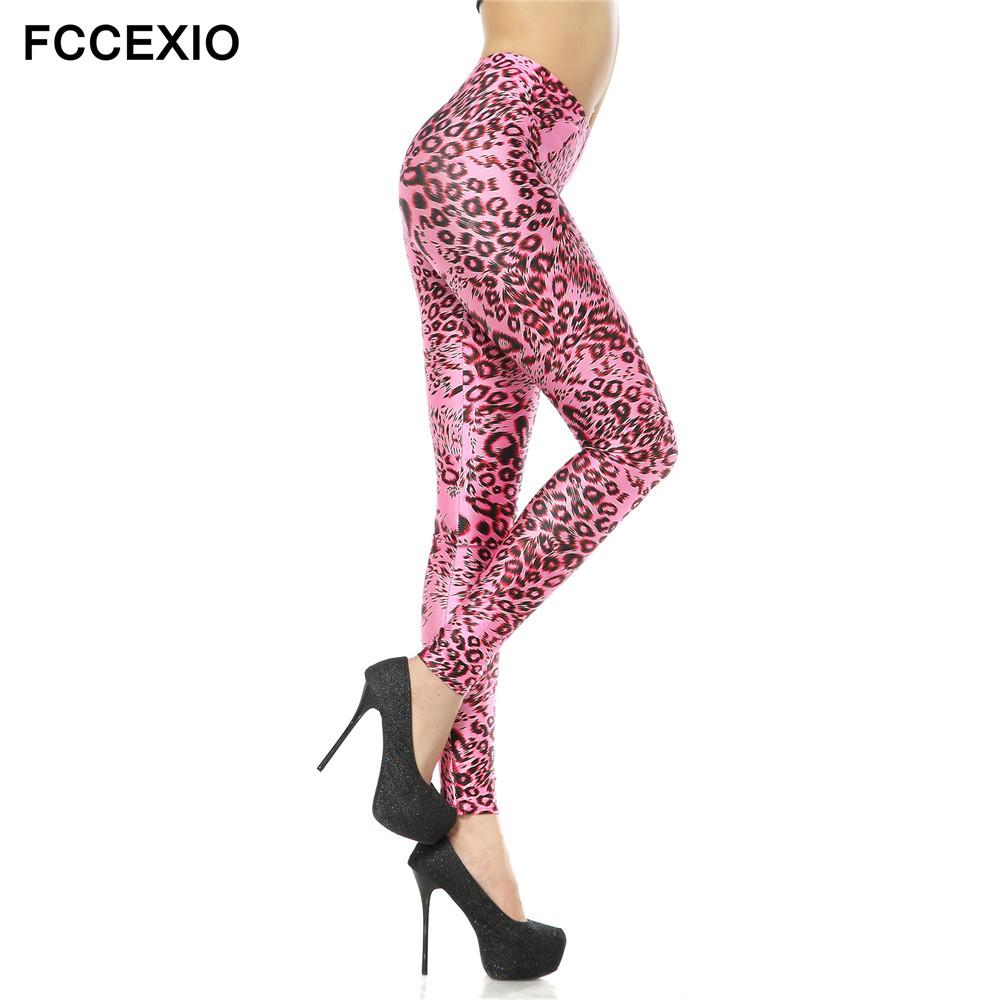 [해외]FCCEXIO 새 소녀 & s 섹시한 귀여운 핑크 레오파드 레깅스 3 차원 인쇄 Legging 여성 & 패션 레깅스 피트니스 바지 Stretch Jeggings/FCCEXIO New Girl&s Sexy Cute Pink Leopard Leggin