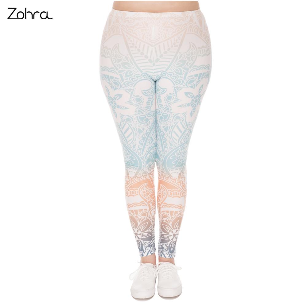 [해외]Zohra의 대형 레깅스 만다라 민트 인쇄 허리 높이 레깅스 플러스 사이즈 바지 스트레치 팬츠 통통한 여성용/Zohra s Large Size Leggings Mandala Mint Printed High Waist Leggins Plus Size Trouser