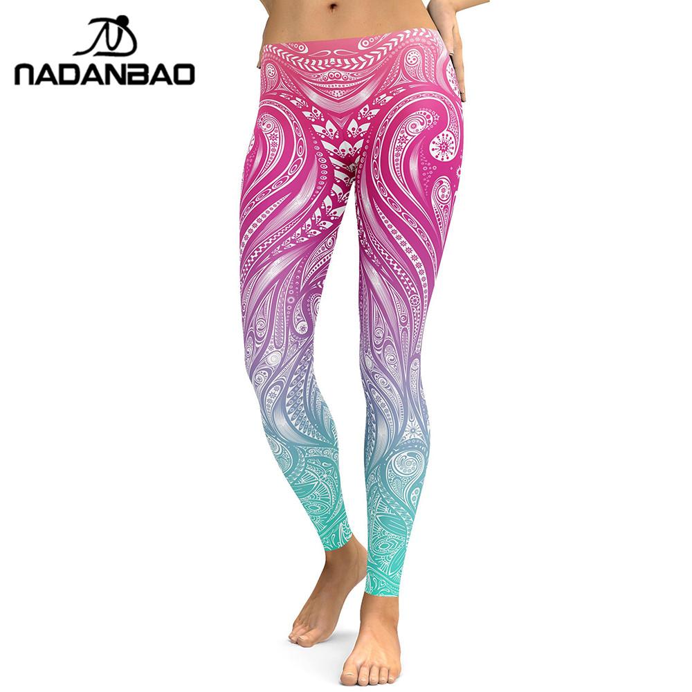 [해외]NADANBAO 새로운 디자인 레깅스 여성 만다라 꽃 3D 디지털 인쇄 레깅스 피트 니스 레깅스 탄력있는 바지 바지/NADANBAO New Design  Leggings Women Mandala Flower 3D Digital Printing Legging Fi