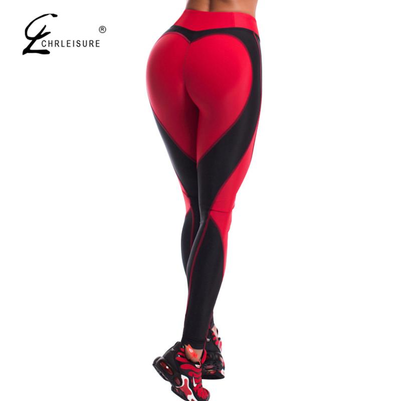 [해외]CHRLEISURE 패션 하트 푸시 업 레깅스 여성 피트니스 운동 신축성 다리 깔창 하이 웨이스트 스포츠 레깅스 보디 빌딩 Jegging/CHRLEISURE Fashion Heart Push Up Leggings Women Fitness Workout Elast