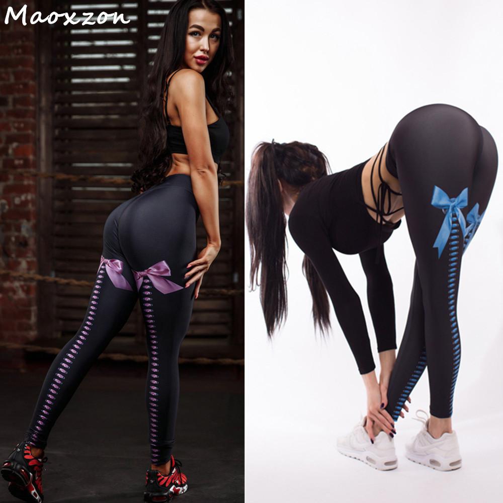 [해외]Maoxzon Womens 활 인쇄 섹시한 피트니스 아름다움 슬림 레깅스 바지 여성 얇은 패션 체육관 활성 탄성 스키니 바지 XL/Maoxzon Womens Bow Print Sexy Fitness Beauty Slim Leggings Trousers Femal