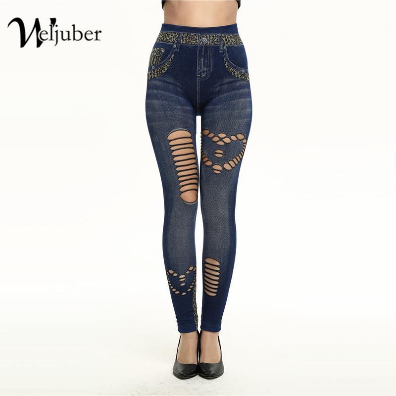 [해외]Weljuber 여성 할로우 아웃 레깅스 봄 섹시 슬림 청바지 레깅스 여성 인쇄 Jeggings 숙녀 데님 스키니 바지 핫 세일/Weljuber Women Hollow Out Leggings Spring Sexy Slim Jeans Leggings Woman P