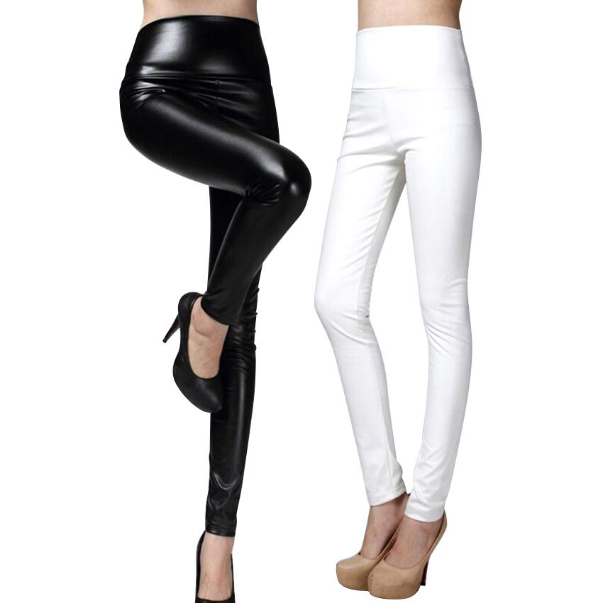 [해외]?PU 가죽 바지 여성 겨울 허리 탄성 PU 가죽 양털 스트레칭 슬림 여성 연필 바지/ PU Leather Pants Women Winter female high waist  elastic pu leather fleece stretch Slim women pen