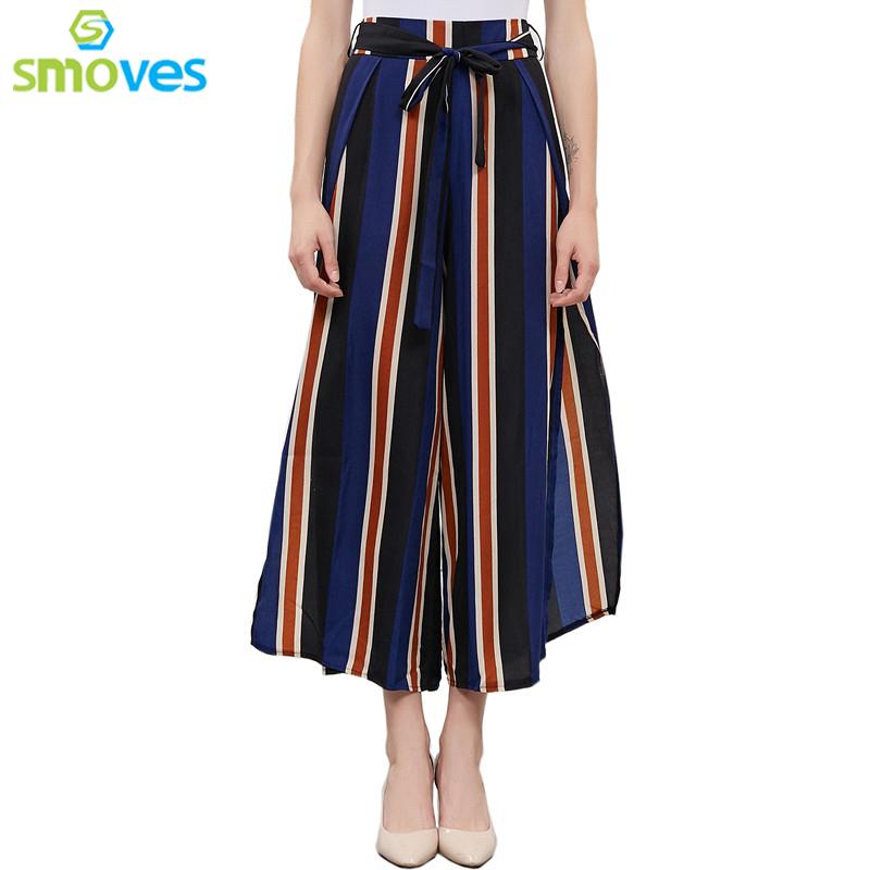 [해외]Smoves Women & s 섹시한 루스핏 보우 타이 스트라이프 프린트 와이드 레그 팬츠 하이 사이드 슬릿 드로우 스트링 바지 스플릿 허리 벨트 바지 New/Smoves Women&s Sexy Loose Fit Bow Tie Striped Print W
