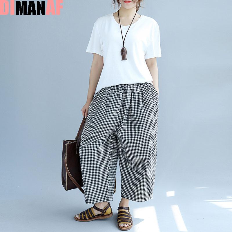 [해외]여름 플러스 사이즈 여성 격자 무늬 프린트 와이드 레그 팬츠 하렘 바지 우아한 탄성 패션 느슨한 대형 사이즈 한국 바지 주머니/Summer Plus Size Women Plaid Print Wide Leg Pants Harem Pants Elegant Elast