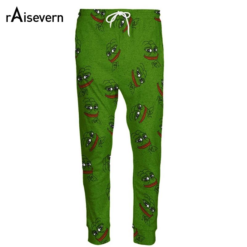 [해외]Raisevern Fashion 3D Pepe 개구리 조깅 바지 남성 / 여성 웃긴 만화 운동복 바지 신축성 허리 바지 Dropship/Raisevern Fashion 3D Pepe The Frog Joggers Pants Men/Women Funny Carto
