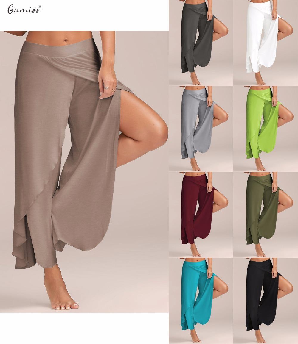 [해외]Gamiss 여성 바지 섹시한 높은 분할 중반 허리 와이드 레그 팬츠 흐릿한 여성 여성 바지 캐주얼 여름 해변 긴 느슨한 하렘 팬츠/Gamiss Women Pant Sexy High Split Mid Waist Wide Leg Pants Flowy Female