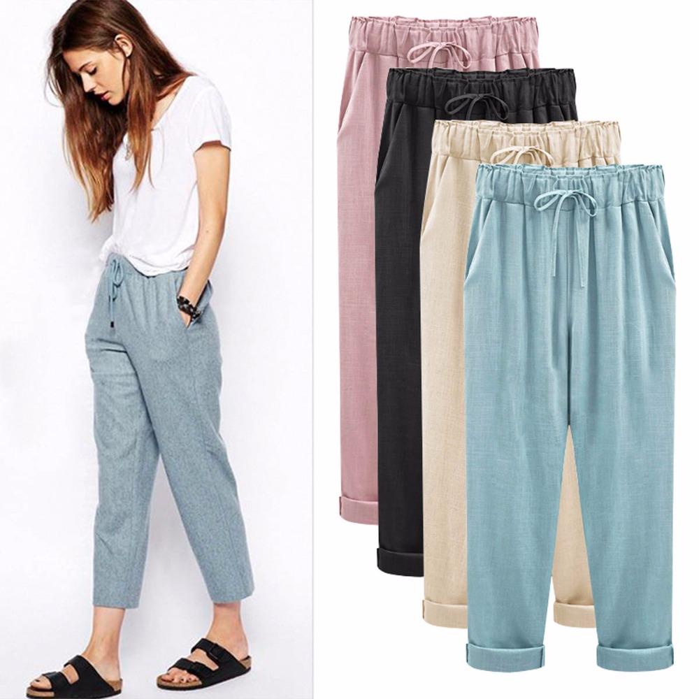 [해외]여성 바지 가을 여성용 코튼 린넨 바지 바지 브레쉬 지방의 크기를 증가 린넨의 얇은 부분 바지/Women&s pants Autumn new female cotton linen pants trousers Breeches Increase the size of fat