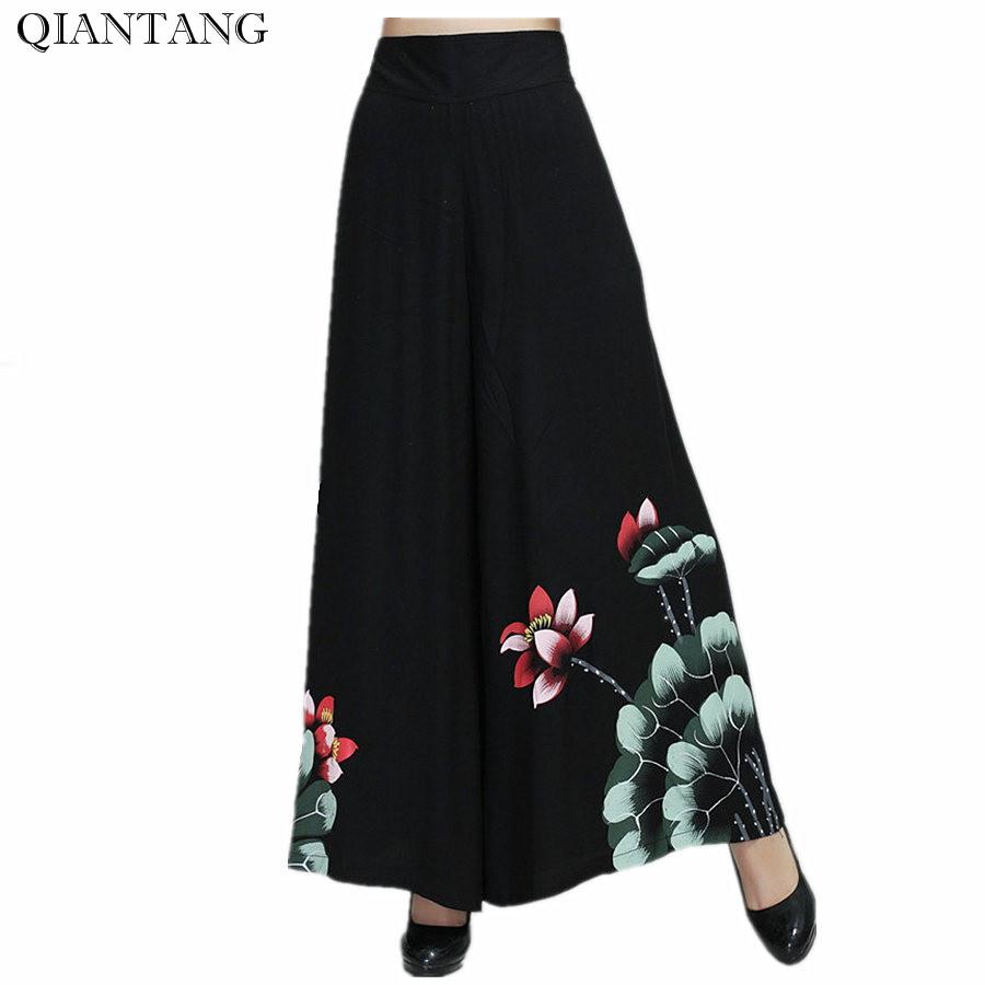 [해외]빈티지 블랙 여성 봄 넓은 바지  Stye 여성 & 코튼 신축성 허리 루즈 한 바지 M L XL XXL 2369-1/Vintage Black Female Spring Wide Leg Pant Chinese Stye Women&s Cotton Elastic