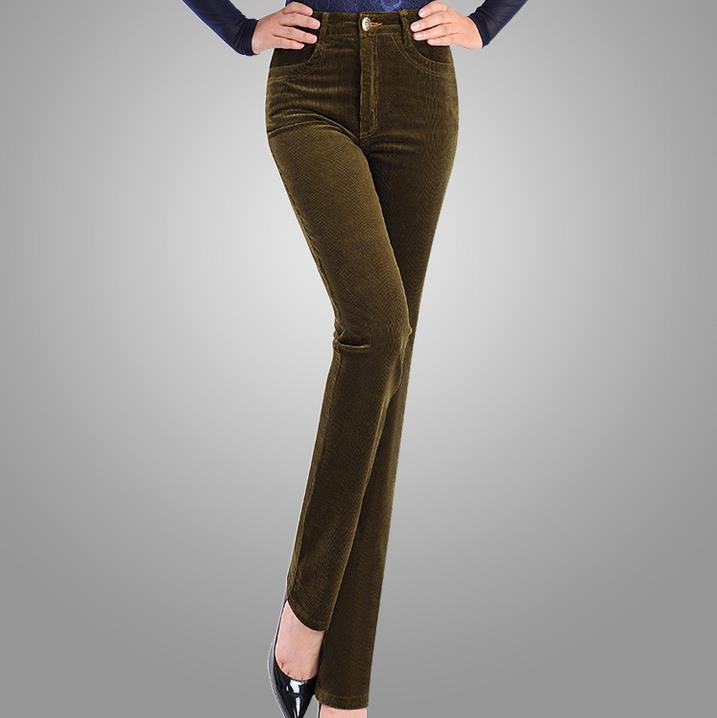 [해외]2017 봄 패션 벨벳 하이 웨스트 캐주얼 바지 코듀로이 바지 바지 스트레이트 바지 스트레치 슬림 대형 7xl/2017 Spring Fashion Velvet High waist casual pants corduroy pants trousers straight