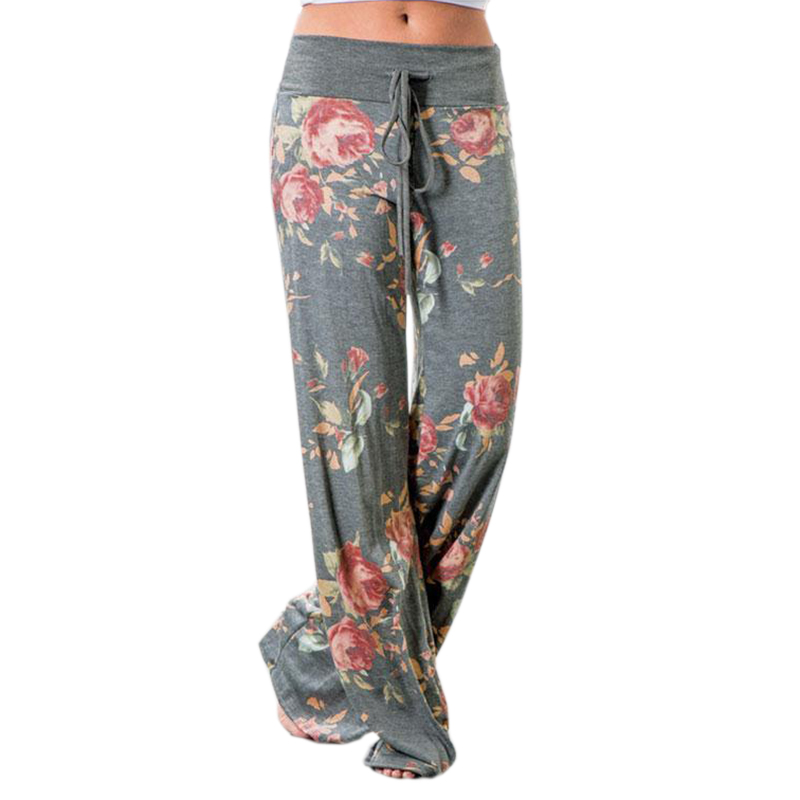 [해외]2017 가을 여성 와이드 레그 팬츠 느긋한 플로랄 프린트 바지 프린트 캐주얼 로우 허스트 바지 롱 팬츠 New Femme Plus Size GV758/2017 Autumn Women Wide Leg Pants Loose Floral Print Pants Pri