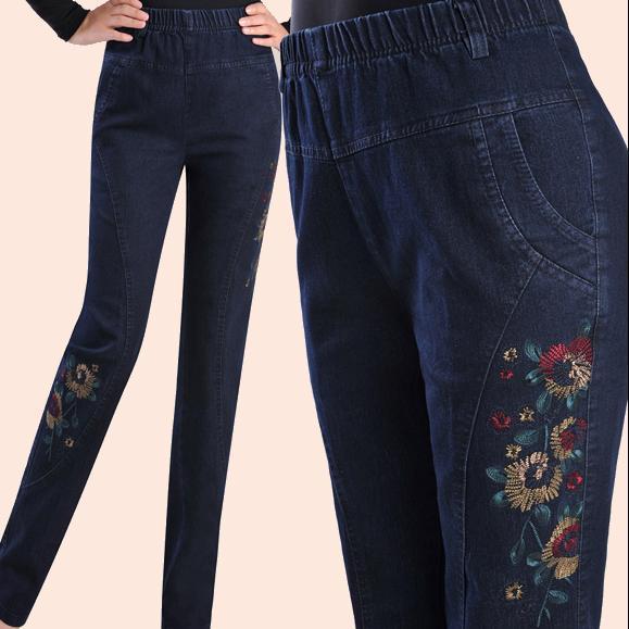 [해외]봄과 가을 청바지 여성 높은 탄성 허리 플러스 크기 5xl 여성 바지 자수/Spring and autumn jeans female high elastic waist plus size 5xl embroidered women pant