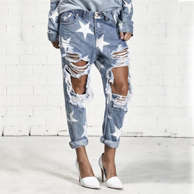 [해외]BringBring 2017 여름 빅 홀 청바지 여성을5 개의 지적 스타 찢어진 청바지 라이트 블루 데님 바지 남자 친구 청바지 1523/BringBring 2017 Summer Big Hole Jeans for WomenFive-pointed Star Ripp