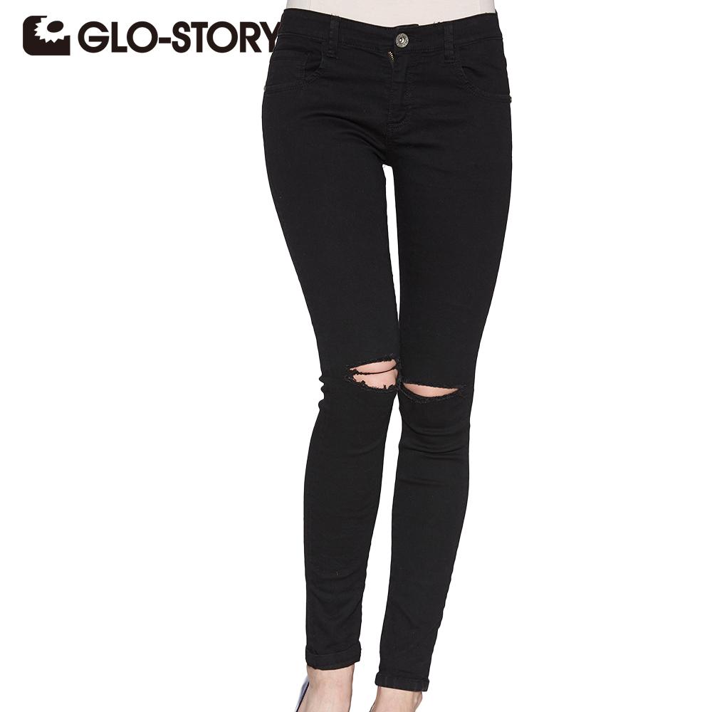 [해외]GLO-STORY 2017 스키니 청바지 여성 블랙 홀 리핑 청바지 하이 웨스트 세련된 섹시한 세련된 여성 데님 바지 femal 3295/GLO-STORY 2017 Skinny jeans woman black Hole Ripped Jeans High waist