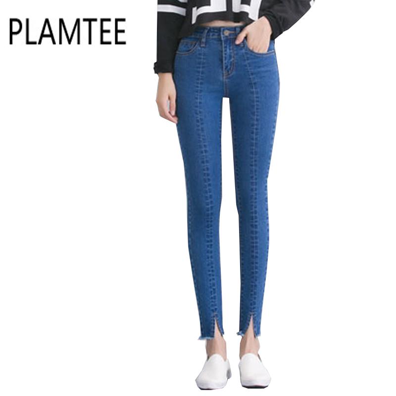 [해외]봄 여성 청바지 높은 허리 스트레치 발목 길이 슬림 연필 바지 패션 여성 청바지 3 색 플러스 사이즈 청바지 Femme 2017/Spring New Women Jeans High Waist Stretch Ankle Length Slim Pencil Pants F