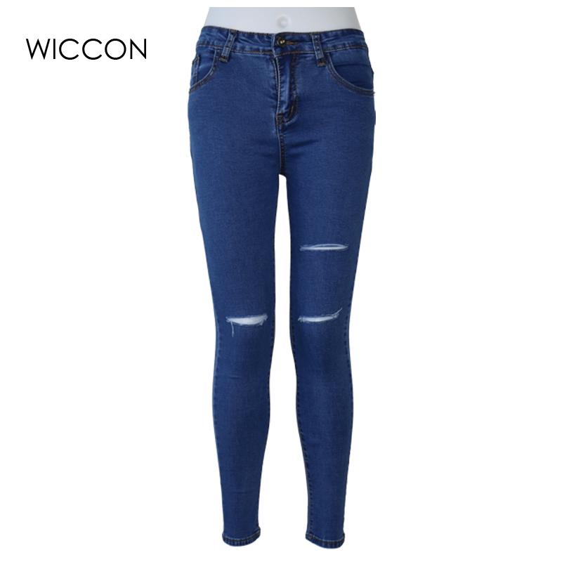 [해외]슬림 스트레치 여성을찢어진 청바지 탄력 피부 높은 허리 청바지 여성 연필 데님 바지 청바지 블랙 블랙 청바지 WICCON/Slim Stretch ripped jeans for women Elasticity skin high waist jeans Women Pen