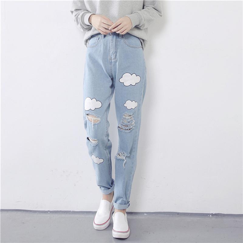 [해외]2017 새로운 여성 청바지 구름 인쇄 찢어진 청바지 코 튼 슬림 빈티지 높은 허리 데님 청바지 여성 J002/2017 New Women Jeans Cloud Print Ripped Jeans Cotton Slim Vintage High Waist Denim J
