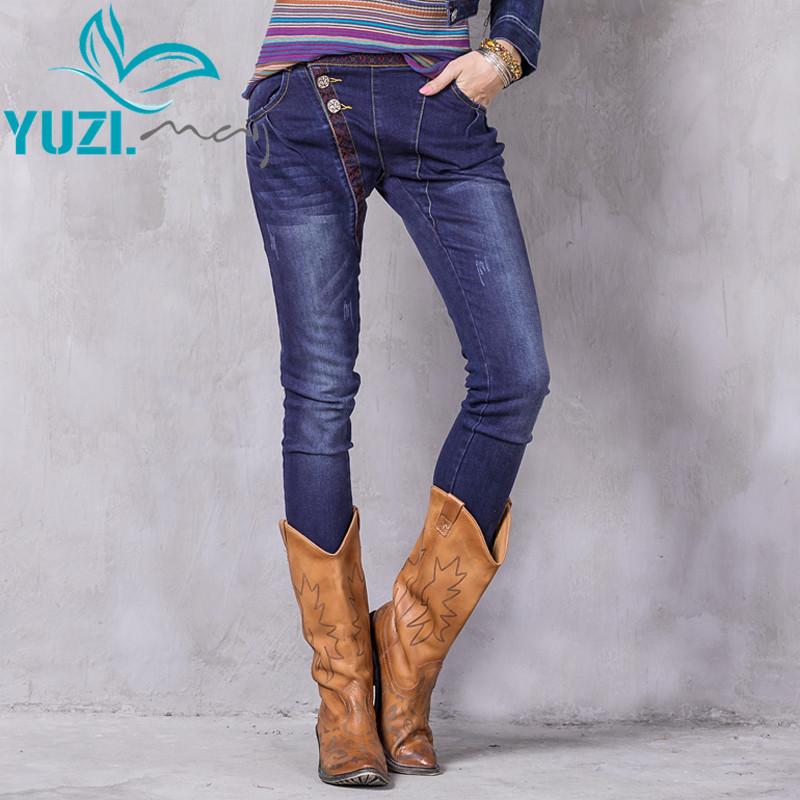 [해외]여성 청바지 2017 Yuzi.may Boho 뉴 데님 하렘 바지 꽃 emroid 빈티지 바지 로우 허리 스키니 진 X2205 여성 바지/Women Jeans 2017 Yuzi.may Boho New Denim Harem Pants Floral Emroidery