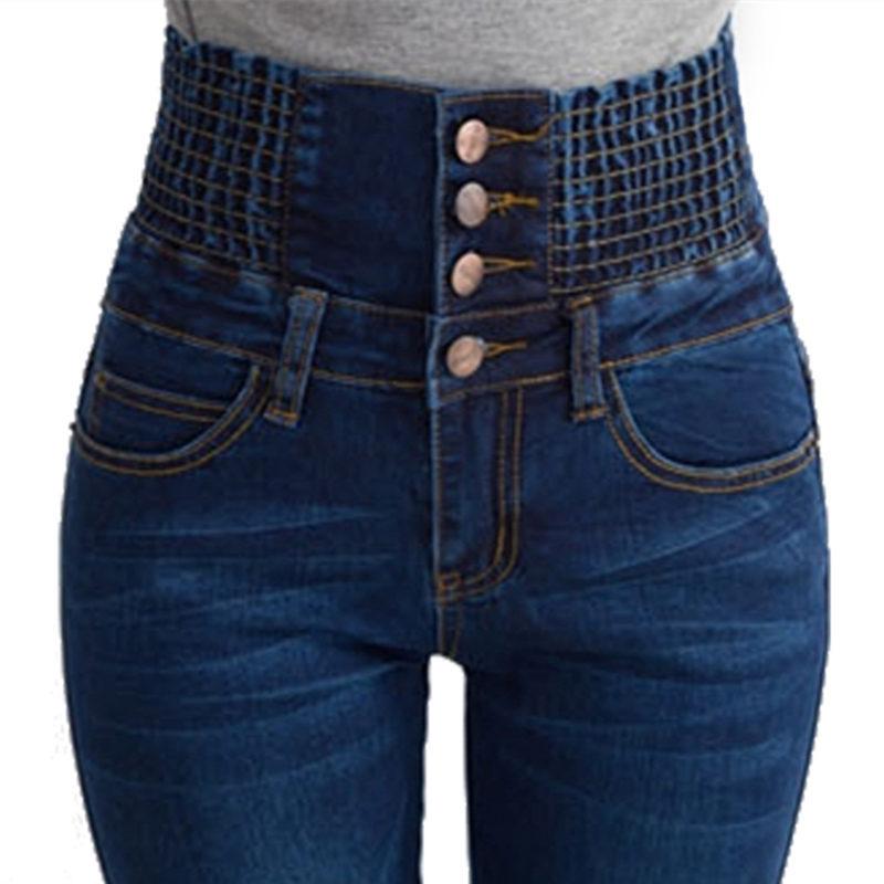 [해외]뜨거운 긴 청바지 여자 연필 캐주얼 블루 데님 스트레치 스키니 2017 패션 4 버튼 높은 허리 청바지 바지 여성 플러스 사이즈/hot Long Jeans Woman Pencil Casual Blue Denim Stretch Skinny 2017 Fashion
