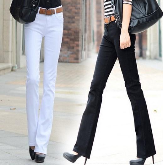 [해외]2017 봄 가을 여성 & 스키니 벨 하단 긴 데님 바지 8 캔디 색상 블랙 레드 패션 스트레치 여성을플레어 청바지/2017 Spring Autumn Women&s Skinny Bell Bottom Long Denim Pants 8 Candy Colors