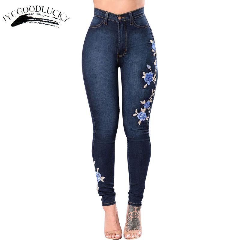 [해외]자수 청바지 2017 하이 웨스트 여성 청바지 스키니 플러스 사이즈 3XL 겨울 데님 여성 청바지 슬림 엄마 밀어 청바지 여성 스트레치/Embroidery Jeans 2017 High Waist Woman Jeans Skinny Plus Size 3XL Wint