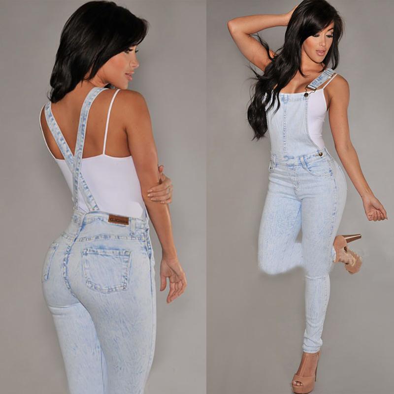 [해외]여자 점퍼 슈트 핫 스트랩 바지 턱받이 바지 롱 팬츠 데님 청바지/Womens Jumpsuits Hot Strap Trousers Bib Pants Long Pants Denim Jeans