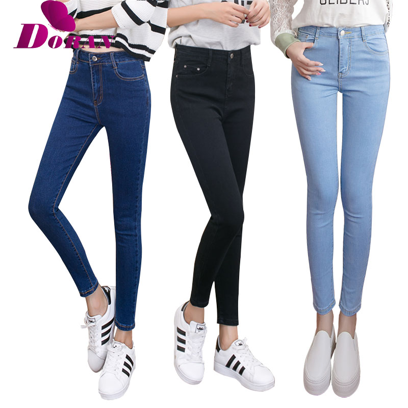 [해외]womens colored 마른 청바지 더하기 크기 여성 & s jeanshigh 허리 청바지 black blue 여성 데님 바지 trousers pencil skinny/womens colored skinny jeans plus size women&s