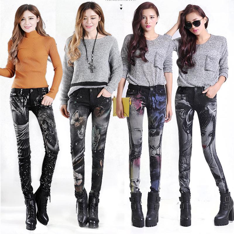 [해외]여성용 슬림 청바지 스키니 라인 석 청바지 여성용 블루 데님 펜슬 바지 스트레칭 여성 프린트 청바지 블랙 팬츠 Calca Feminina/Slim Jeans For Women Skinny Rhinestones Jeans Woman Blue Denim Pencil