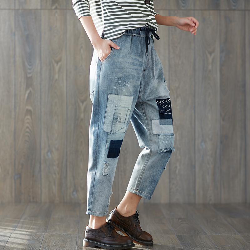[해외]봄 새로운 남자 친구 청바지 하렘 바지 여성 바지 2018 빈티지 느슨한 패치 찢어진 데님 바지 하이 웨이스트 캐주얼 청바지 XXL/Spring New Boyfriend Jeans Harem Pants Women Trousers 2018  Vintage Loos