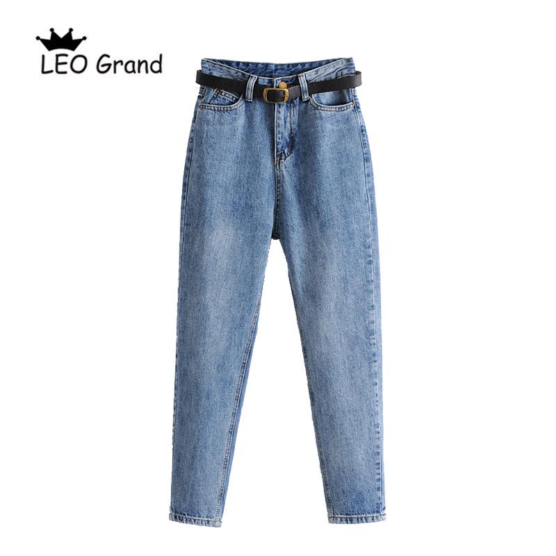 [해외]레오 그랜드 여성 MoM 스타일 청바지 여성 벨트 긴 바지 높은 허리 남자 친구 바지 904002/Leo Grand women MoM style jeans womenbelt female long pants high waist boyfriend trousers 9
