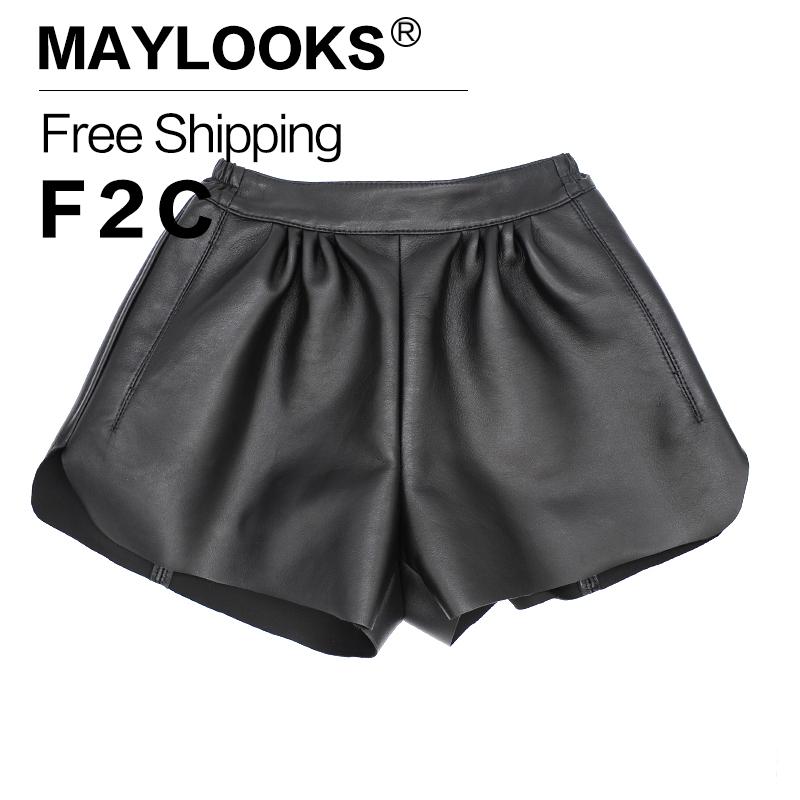 [해외]Maylooks 2017 여성 가죽 반바지  가죽 캐주얼 여성 반바지 Wasit 여성용 일반 양피 섹시한 반바지 LE011/Maylooks 2017 Women Leather Shorts Genuine Leather Casual Women Shorts Wasit