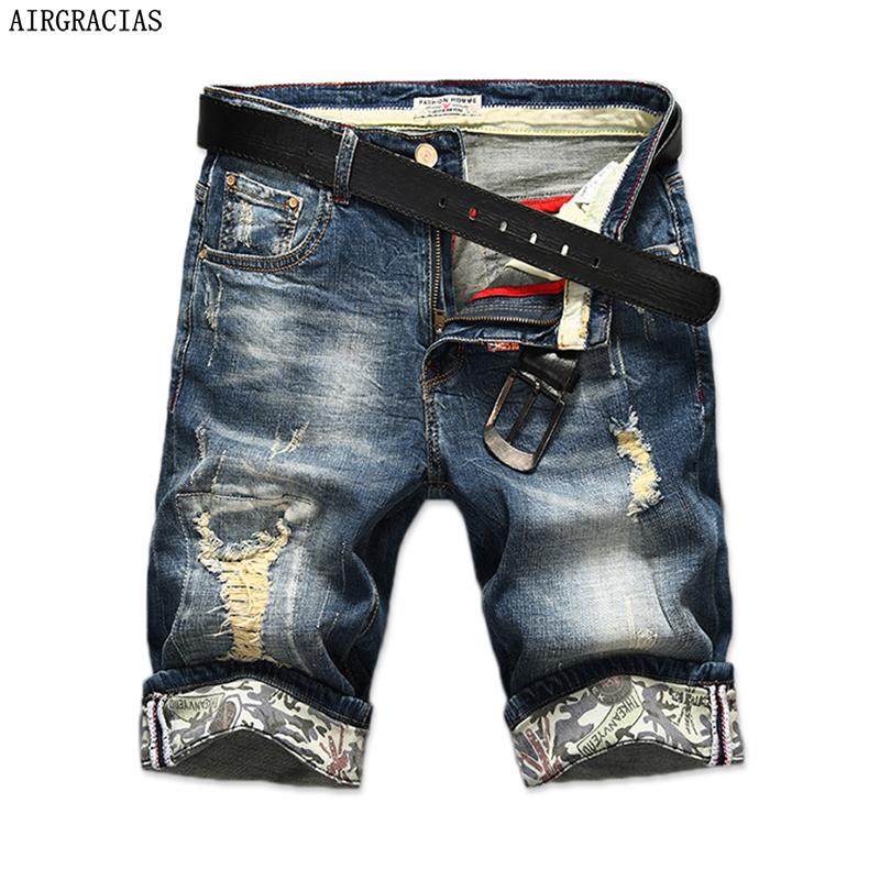[해외]AIRGRACIAS 새로운 패션 남성 찢어진 짧은 청바지 브랜드 의류 버뮤다 여름 98 % 코튼 반바지 통기성 데님 반바지 남성/AIRGRACIAS New Fashion Mens Ripped Short Jeans Brand Clothing Bermuda Summ