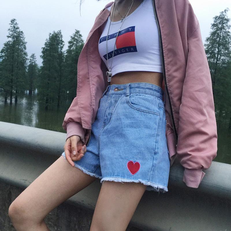 [해외]2017 새로운 여성 여름 반바지 귀여운 심장 자수 Demin 짧은 하이 웨스트 하라주쿠 귀여운 반바지 SH020/2017 New Women Summer Shorts Cute Heart Embroidery Demin Short High Waist Harajuku