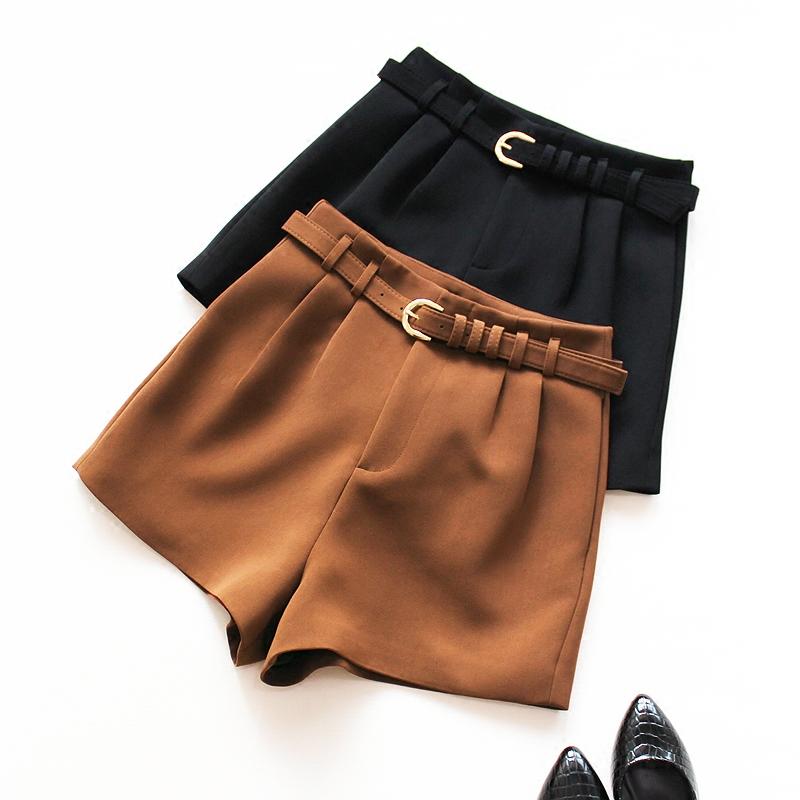 [해외]2017 가을 겨울 여성 캐주얼 반Retail 유행 단색 검정 높은 허리 반바지 브라운/2017 autumn winter woman casual shortssashes fashion solid black high waist shorts brown