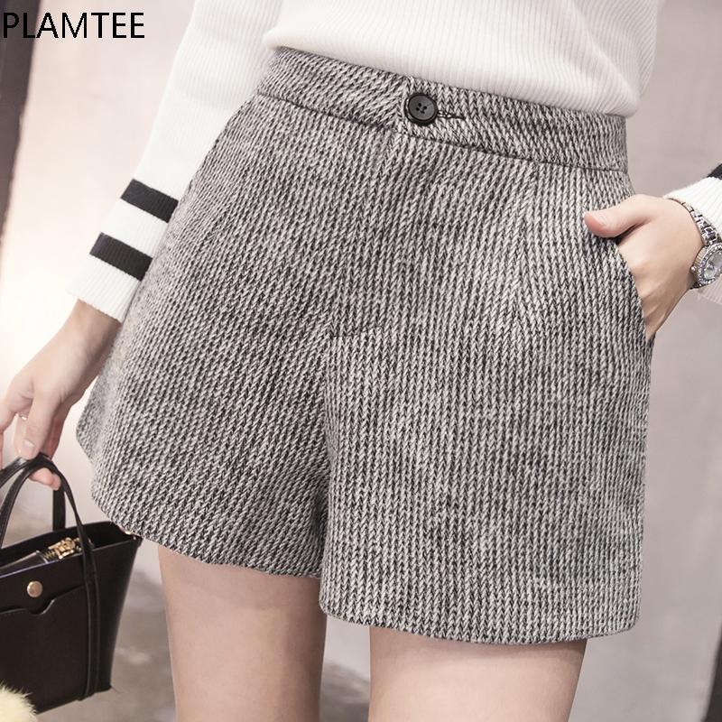[해외]PLAMTEE 새로운 가을 모직 반바지 여성 2017 겨울 느슨한 넓은 다리 반바지 Feminino A 라인 지퍼 포켓 짧은  크기 S-XXL/PLAMTEE New Autumn Woolen Shorts Women 2017 Winter Loose Wide Leg